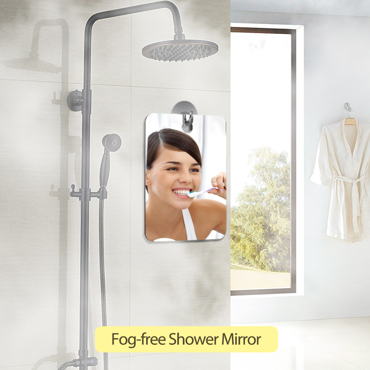 Hanging Shower Shaving Fogless Mirror Bathroom Fog Free Makeup ...