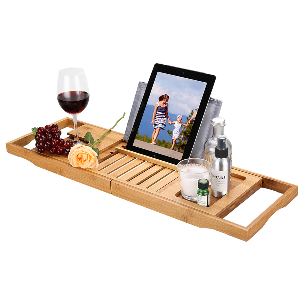 Bamboo Bath Caddy Tray Expandable Wine Glass Holder Over Bathtub ...