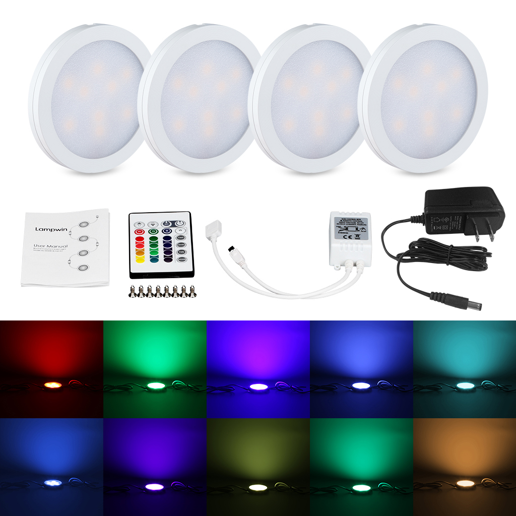 Details About 4x Closet Led Light Rgb Under Cabinet Lighting Kit Color Changing Remote Control
