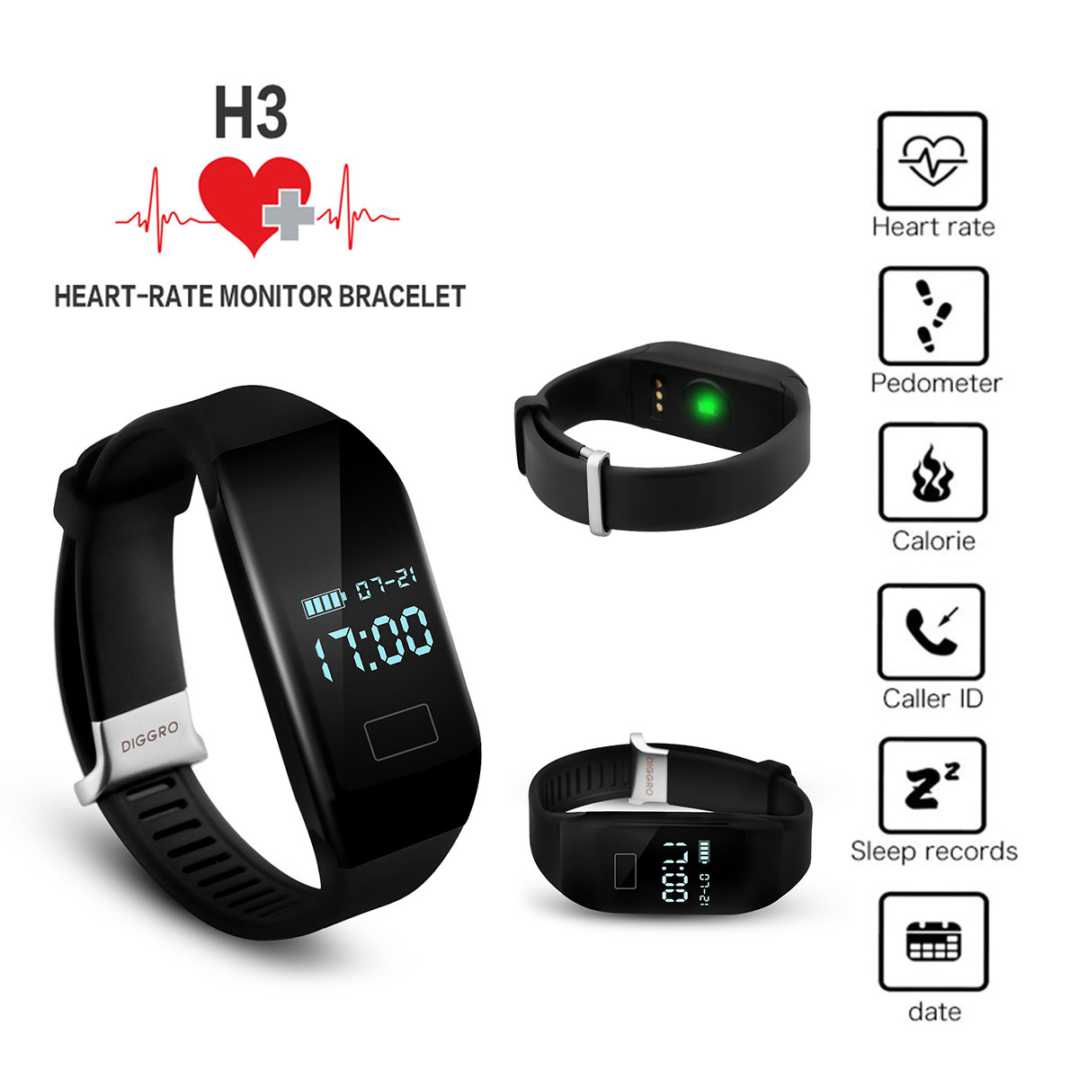 Diggro H3 Smart Sports Wristband Watch Band Heart Rate Monitor For Android Ios Ebay