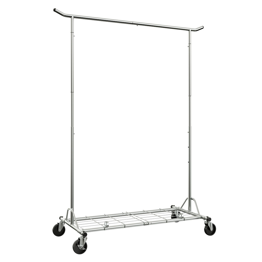 Langria heavy duty rolling commercial single rail clothing garment rack with wheels height adjustable collapsible clothes rack max load capacity 143 5 lbs