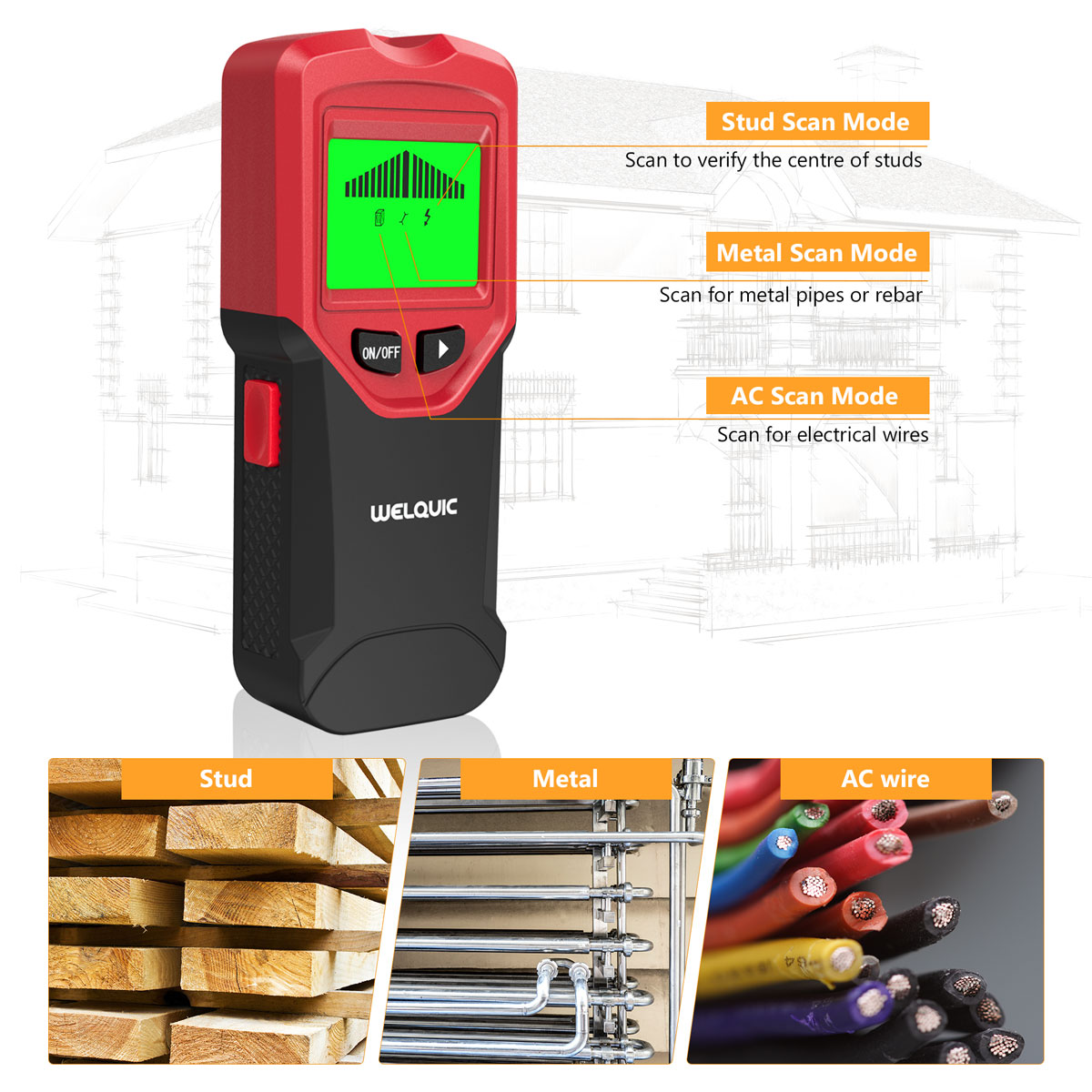 3in1 Lcd Stud Wood Wall Center Finder Scanner Metal Ac Live Wire Locating Electrical Wiring Behind Walls Which Can Accurately Locates Hidden Objects Rebar Studs And Steel Copper Pipes Wirewood Wooden Frames