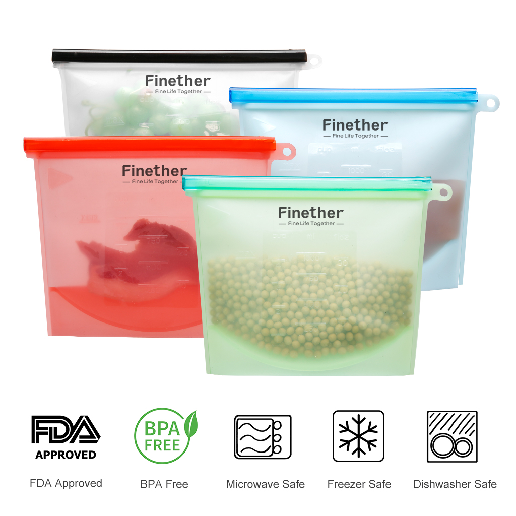 4 x silicone food storage bag reusable kitchen fresh bag leak proof cooking bag ebay. Black Bedroom Furniture Sets. Home Design Ideas