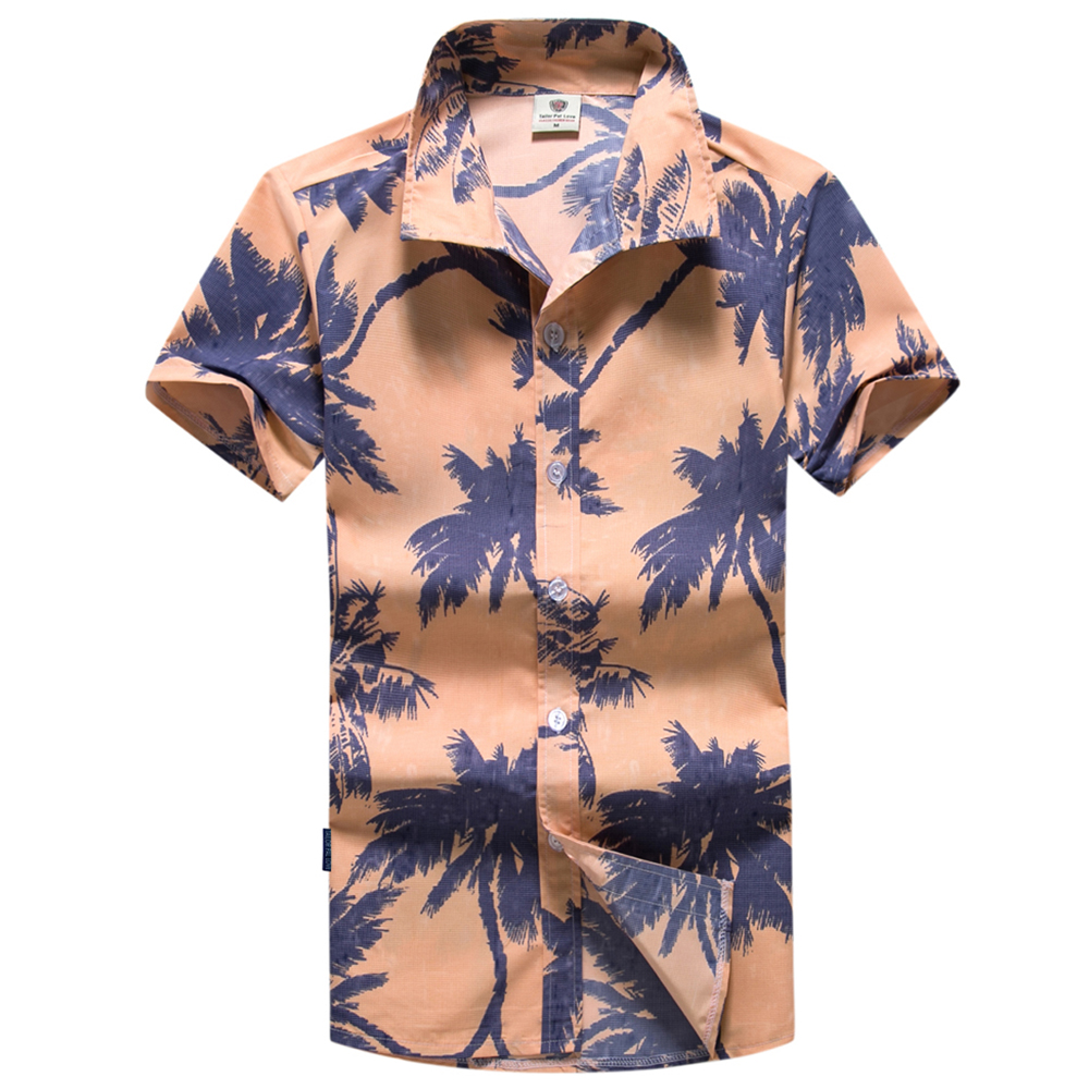 QHF Mens Hawaiian Printed Shirt Casual Short Sleeve Turn Down Collar Button Yellow,XXL