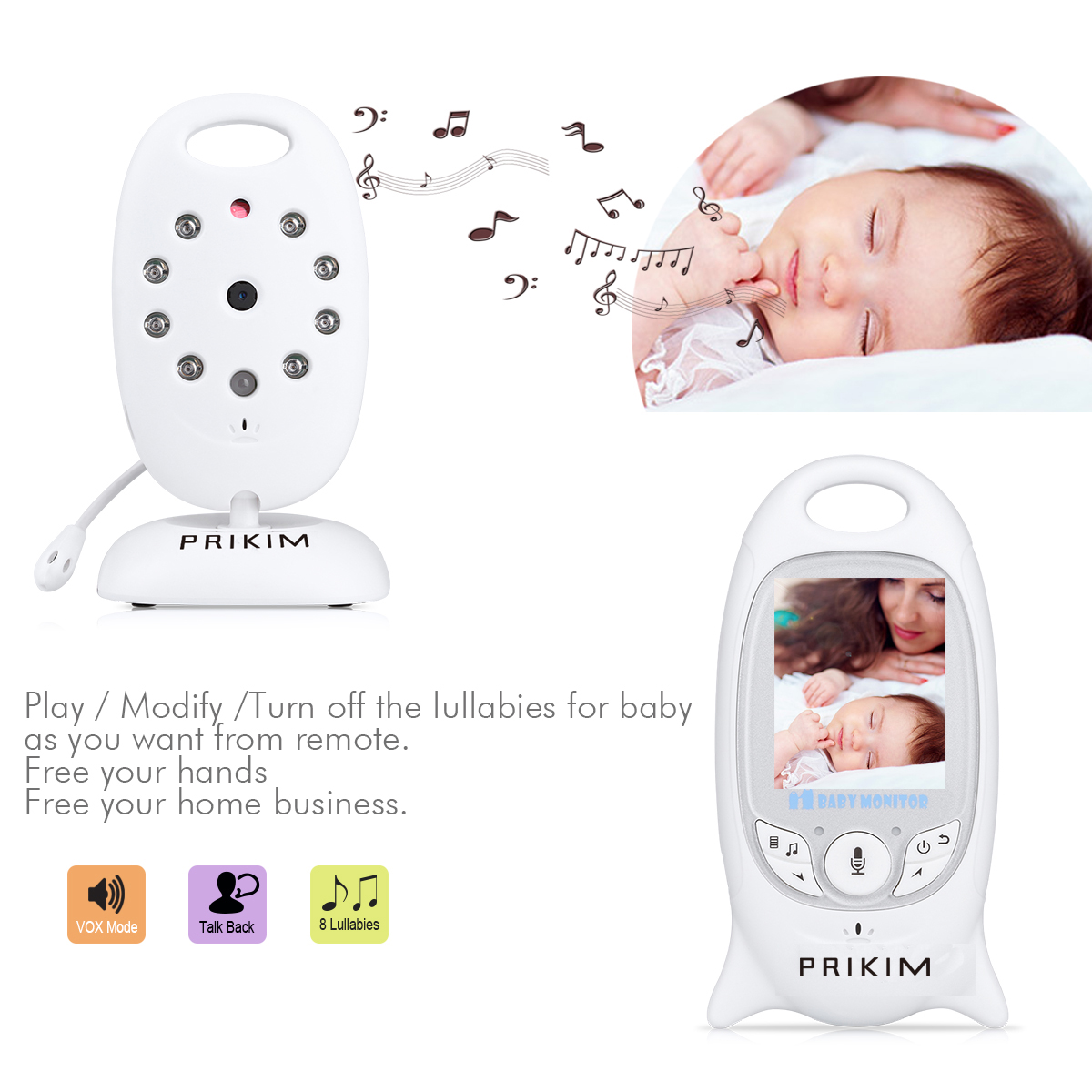 PRIKIM Digital Baby Kamera Wireless Babyfone Baby Monitor Camera mit Nachtsicht