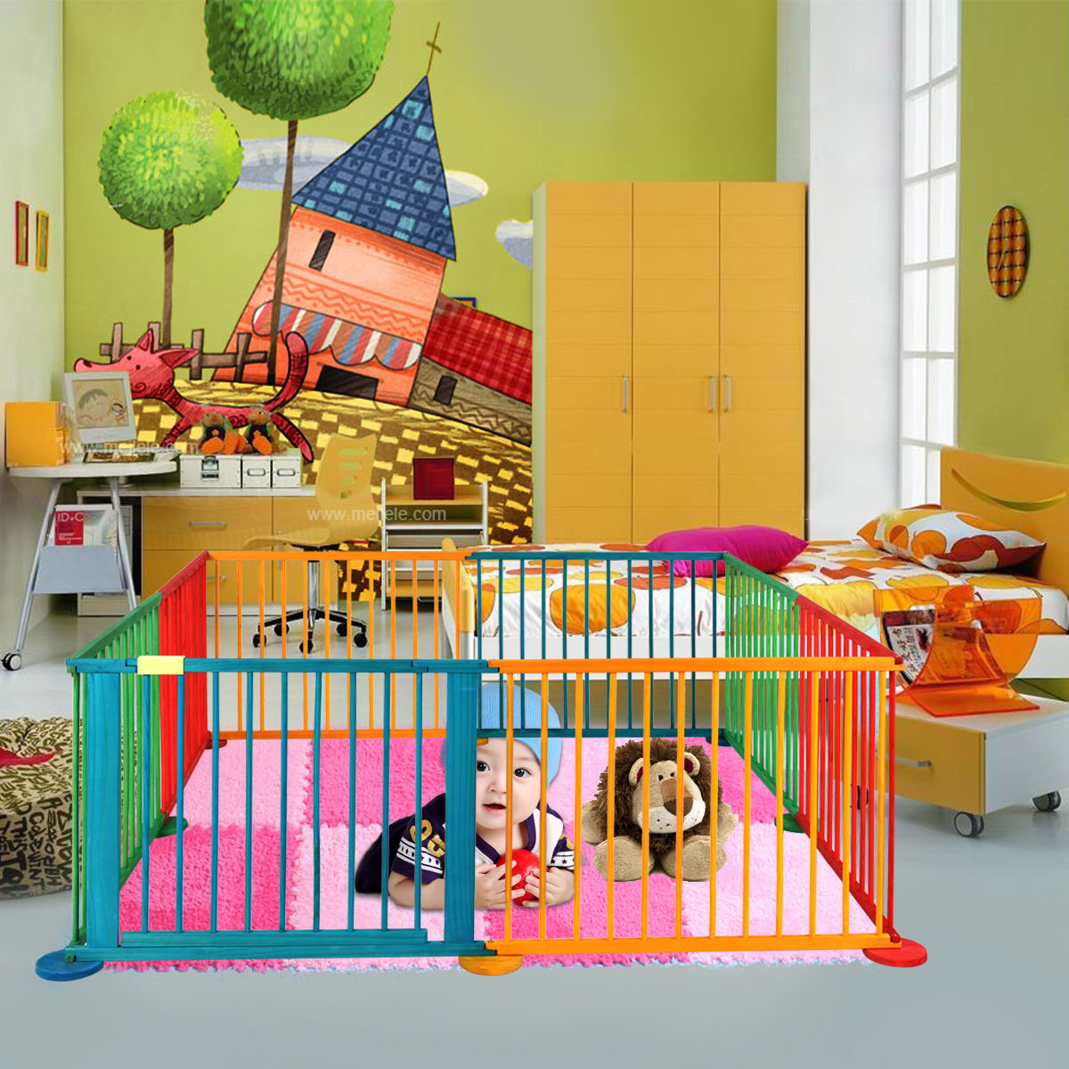 Foldable Wooden Baby Playpen 8 Panel Play Yard Fence Kids