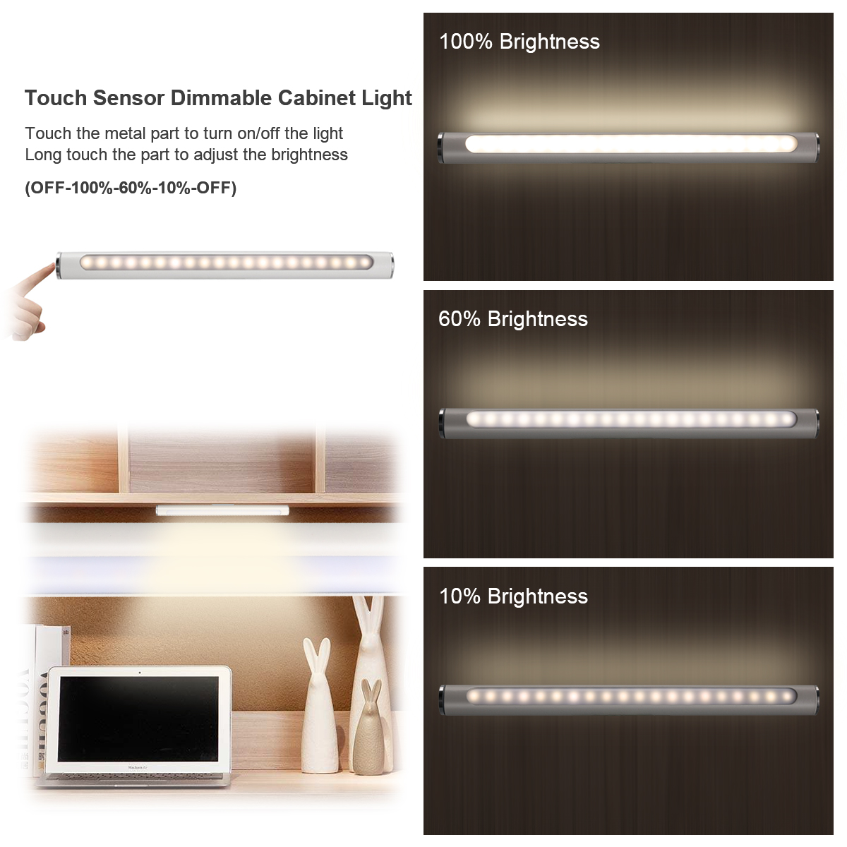 Details About Home Led Under Cabinet Counter Light Usb Touch Dimmable Strip Lamp Kitchen