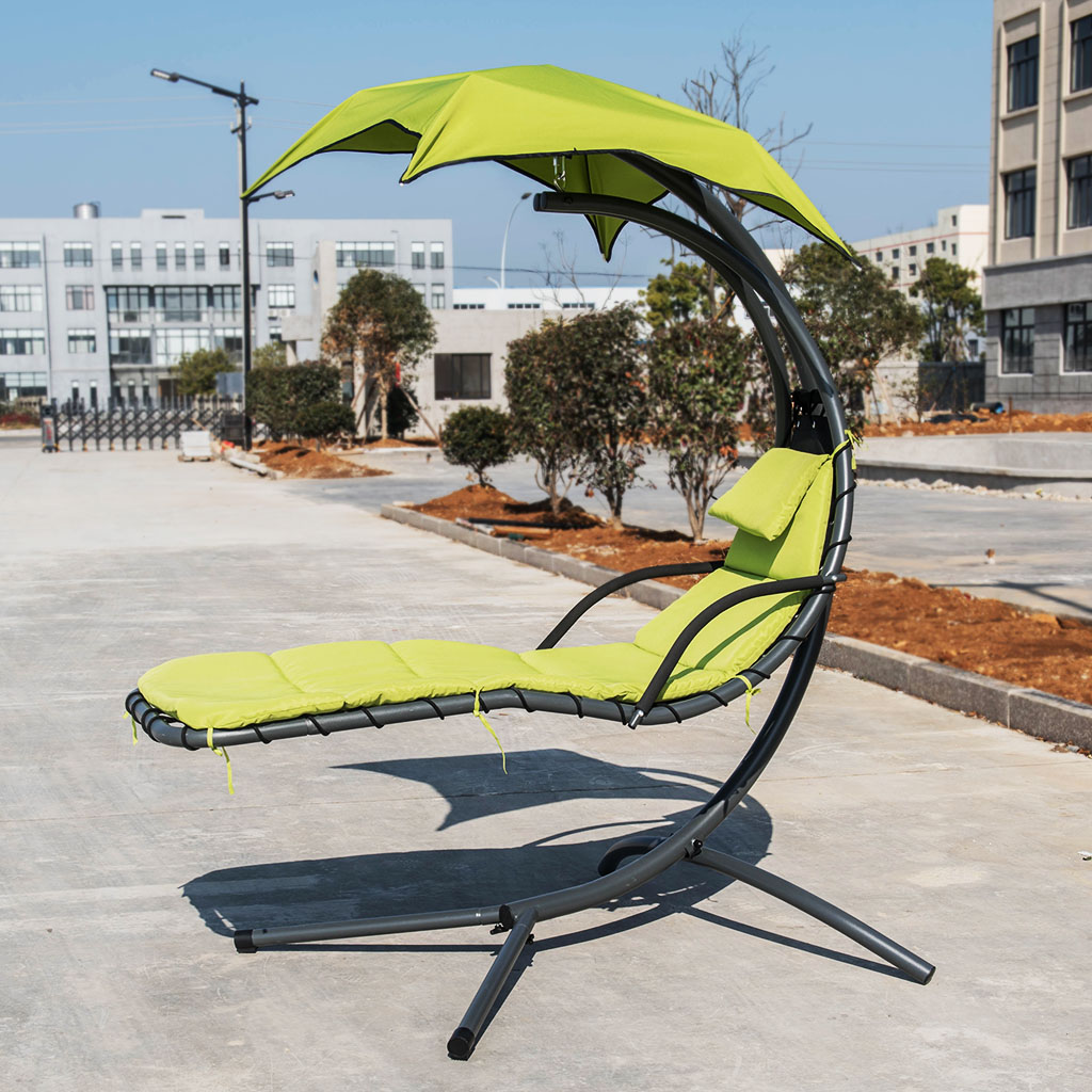 Details About Hanging Chaise Lounge Chair Outdoor Swing Hammock Air Porch Relax Reading Seat