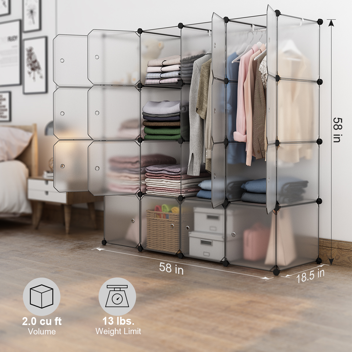 Langria 16 Cube Organizer Stackable Plastic Storage Shelves Design Multifunctional Modular Closet Cabinet With Hanging Rod For Clothes Shoes Toys