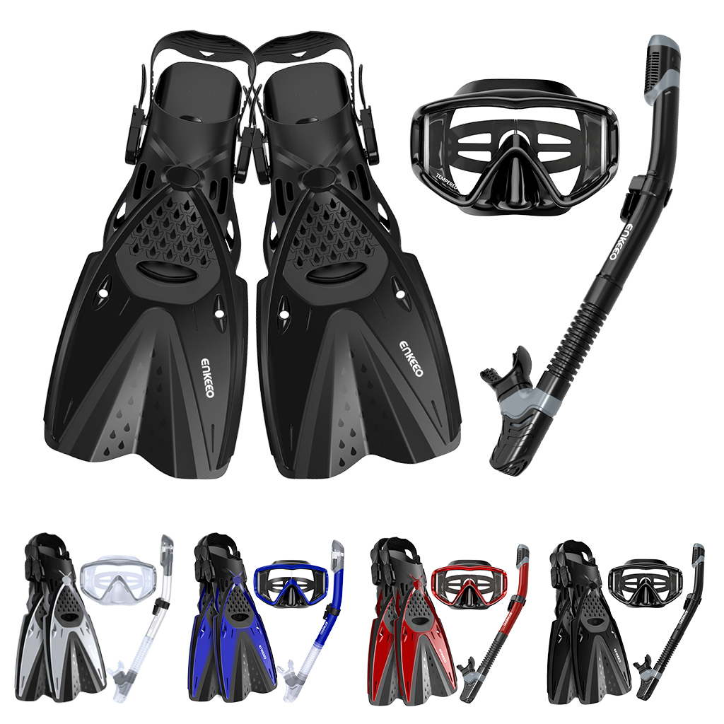 Details about Snorkel Swimming Scuba Tempered Glass Diving Mask Dry Breath Tube Fins Gear Set