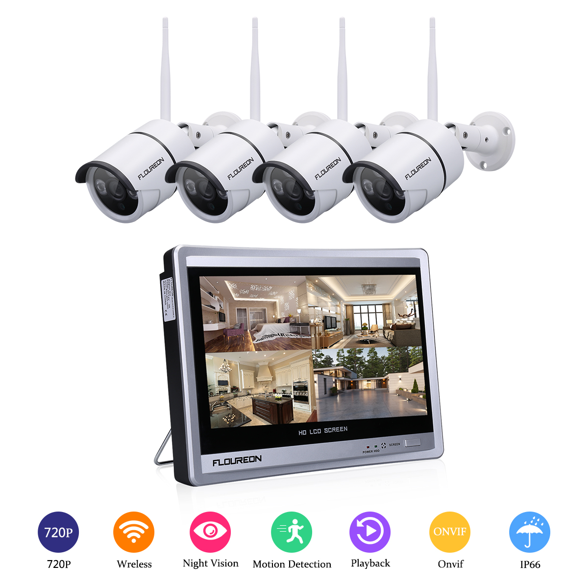 Wireless 4CH 1080P NVR Wifi IR-CUT P2P HD Camera Security System Realtime Record