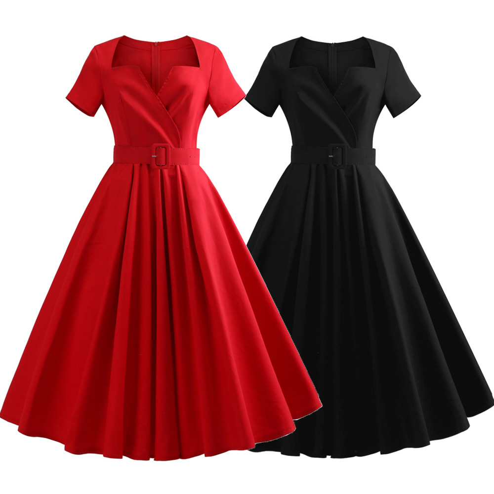 Details about 50s Vintage Women Hepburn Plus Size Evening Party Rockabilly  Red Swing Dress