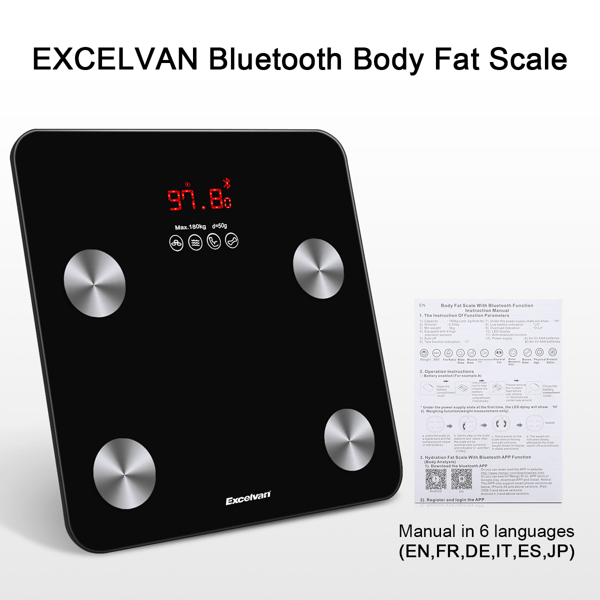 Details about Bluetooth Digital Bathroom Body Fat Smart Scale BMI Bone for  iOS Android + APP