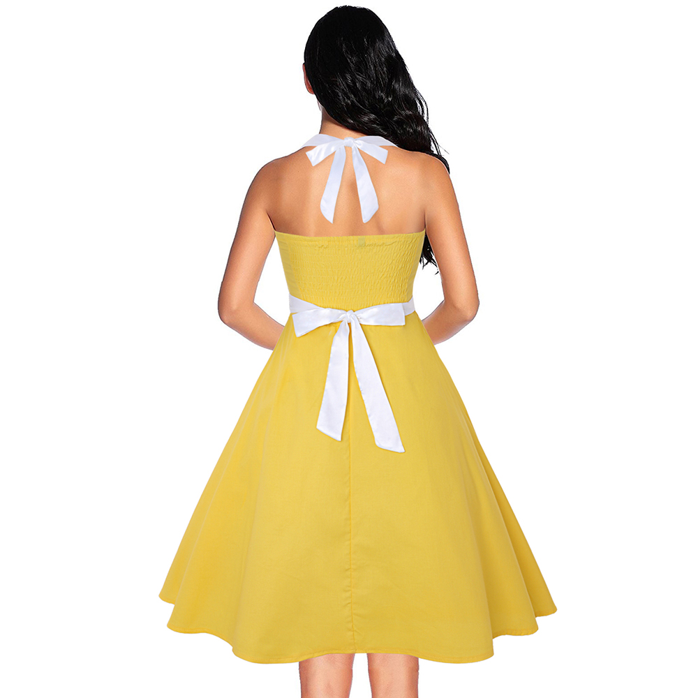 addcee3d028 S-3XL Tea Dress Rockabilly Halter Party Cocktail Vintage Style Swing ...