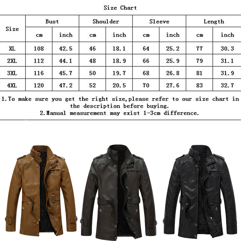 Fashion Men's Winter Warm Leather Suit Jacket Coat Long Outwear Trench Padded
