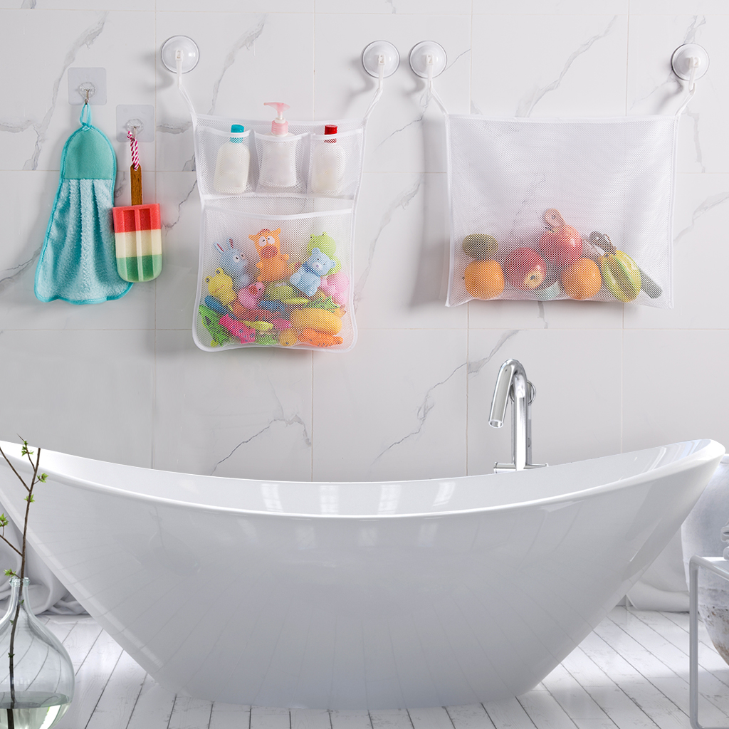 Set Of 2 Hanging Mesh Bath Toy Organizer Bags With 4 Suction Cup Hooks And  2 Non Residue Adhesive Hooks, Mold Free Quick Drying Toy Caddy Storage Net  For ...