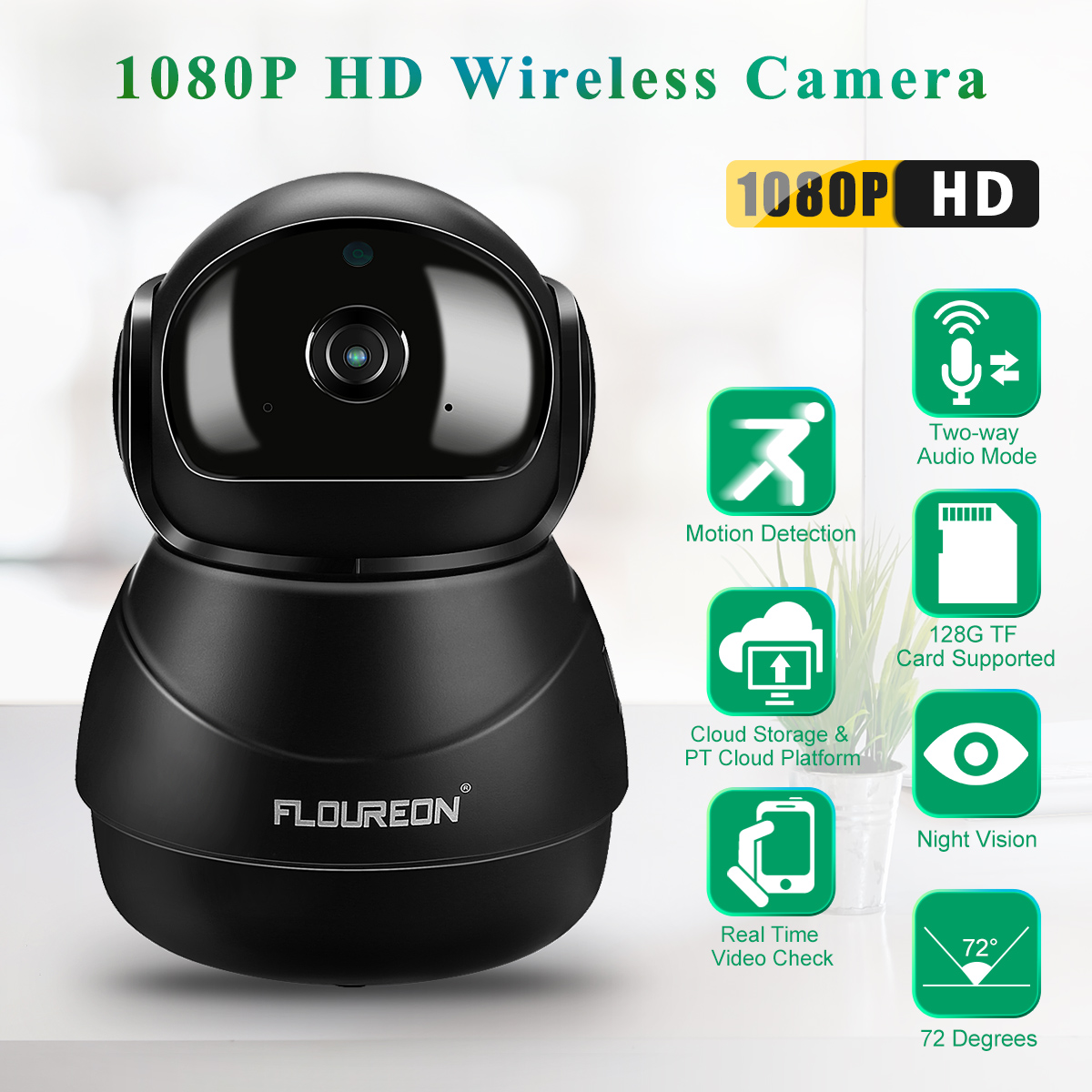 Details about 1080P HD Wireless WIFI IP Dome Camera CCTV Network Home  Security IR CAM Pan/Tilt