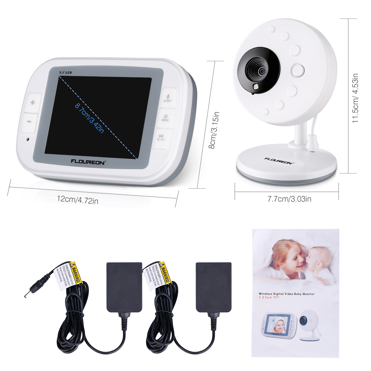 wireless 2 4ghz digital color lcd video baby monitor. Black Bedroom Furniture Sets. Home Design Ideas