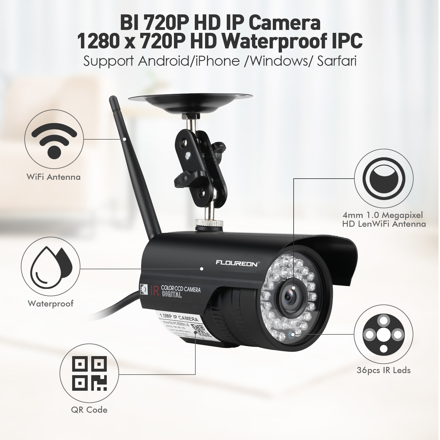 Details about Home Video Monitor IP Camera 1/2/4x 720P HD Wireless IR Night  Vision WiFi Cam US