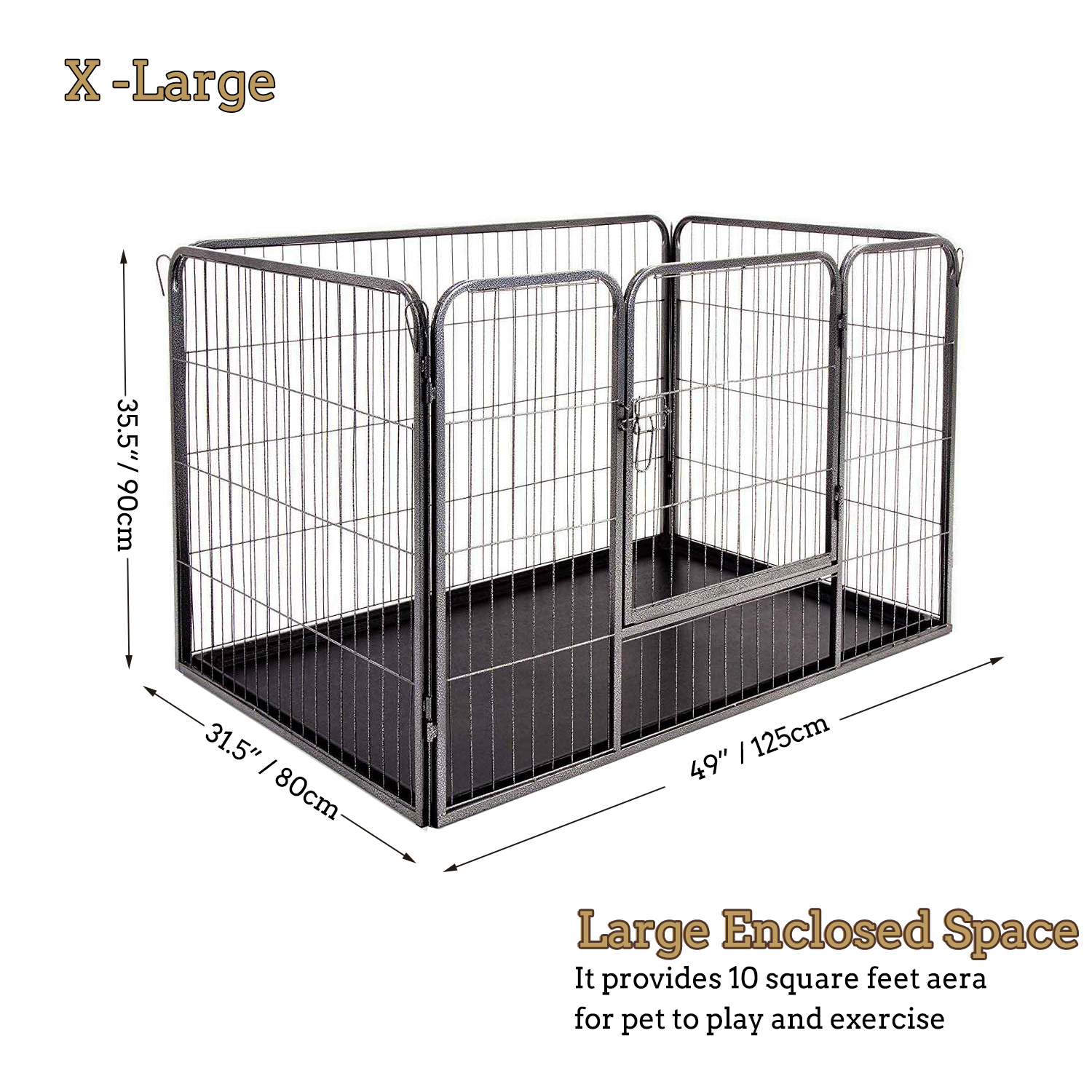 7097e3aa9c1 4 x Panel Heavy Duty Puppy Play Pen Dog Playpen Whelping Pen Pens With  Plastic Floor Tray