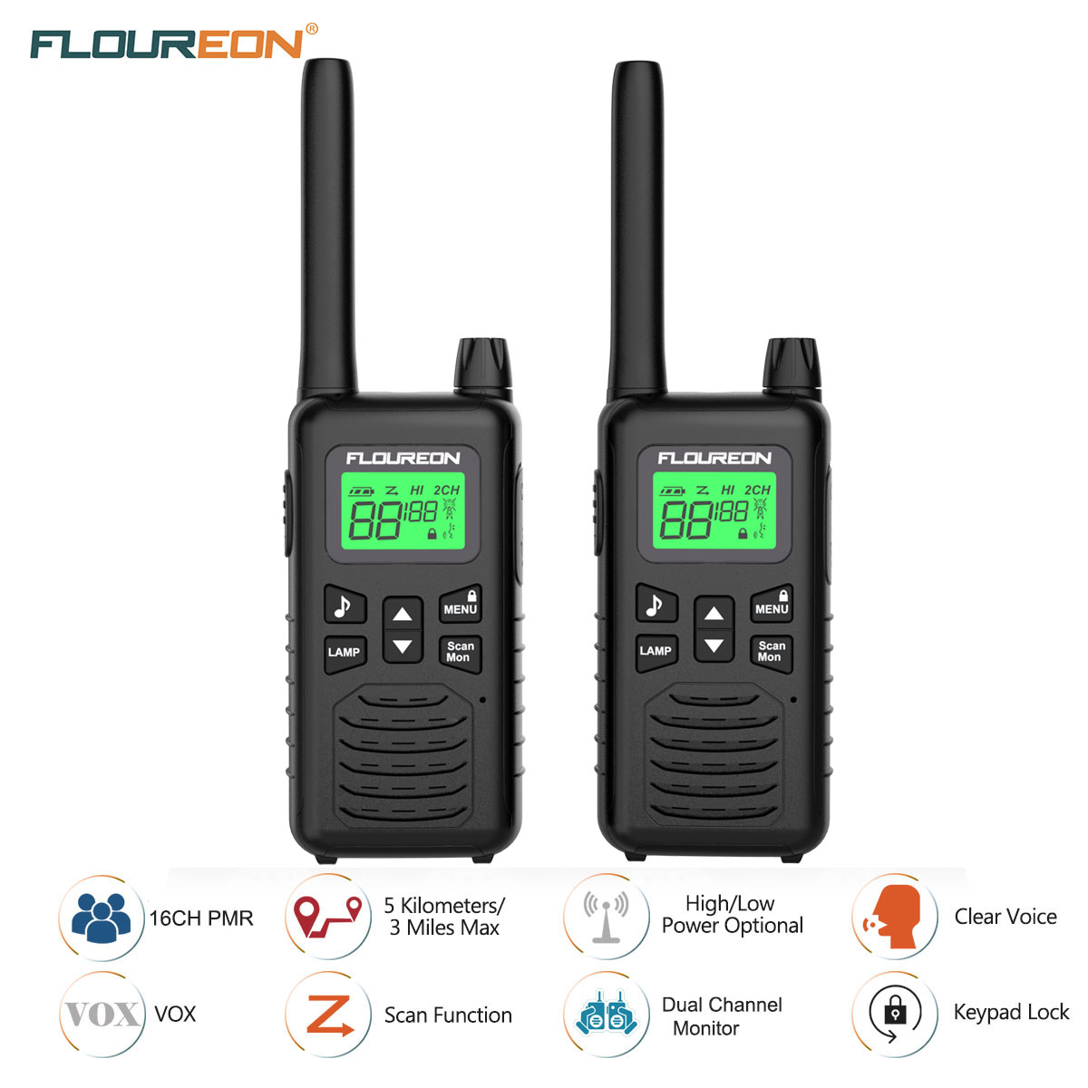 4 x 22CH PMR Twins Walkie Talkies 5KM FRS//GMRS 462-467MHZ 2-Way Radio Interphone