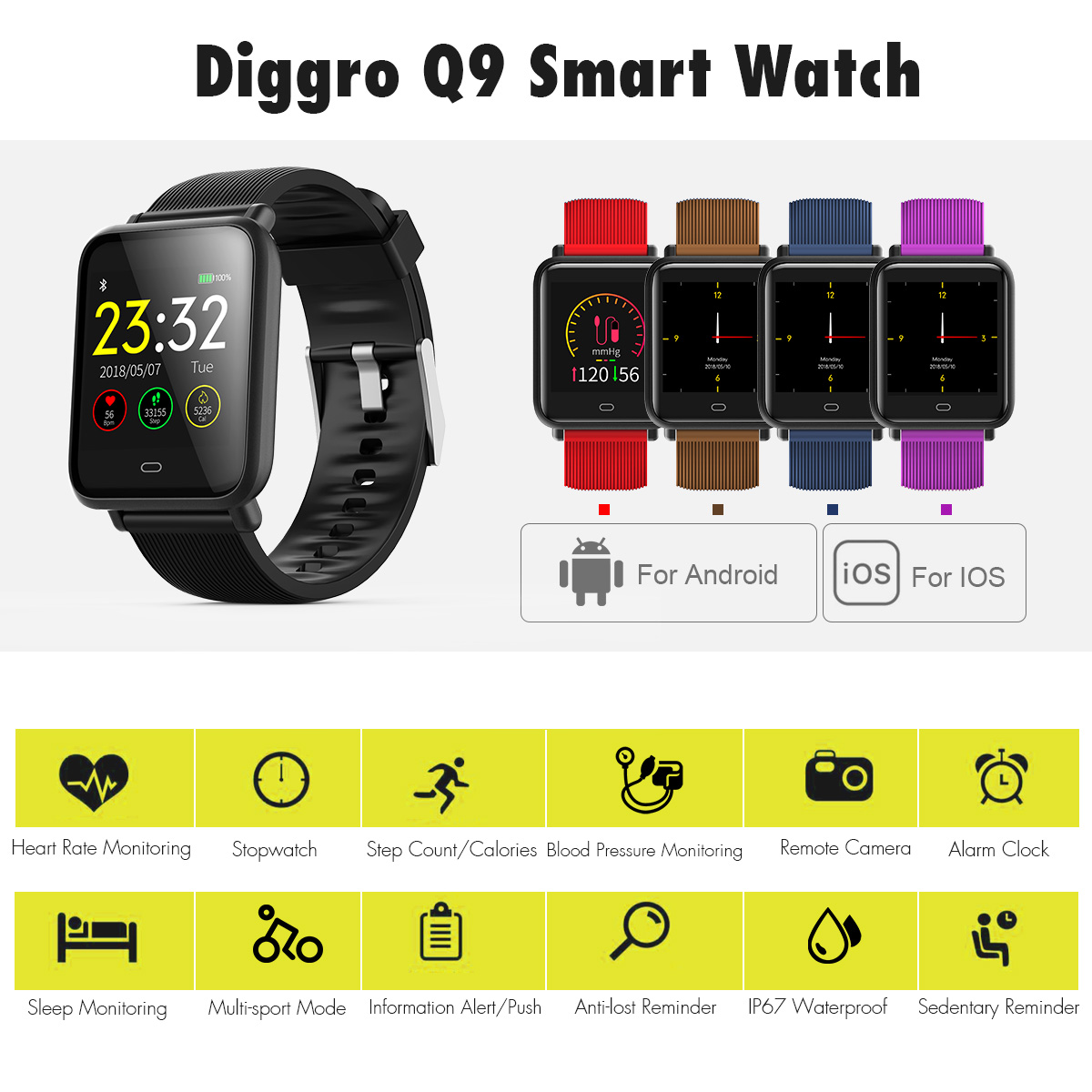 Details about Diggro Q9 Smart Watch Blood Pressure Heart Rate Monitor Sport  IP67 Smartwatch