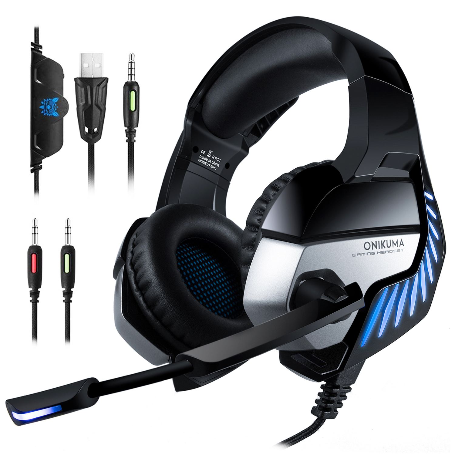 Details about ONIKUMA K5 Pro 3 5mm USB Headphones Bass Surround Gaming  Headset for PS4 Xbox PC