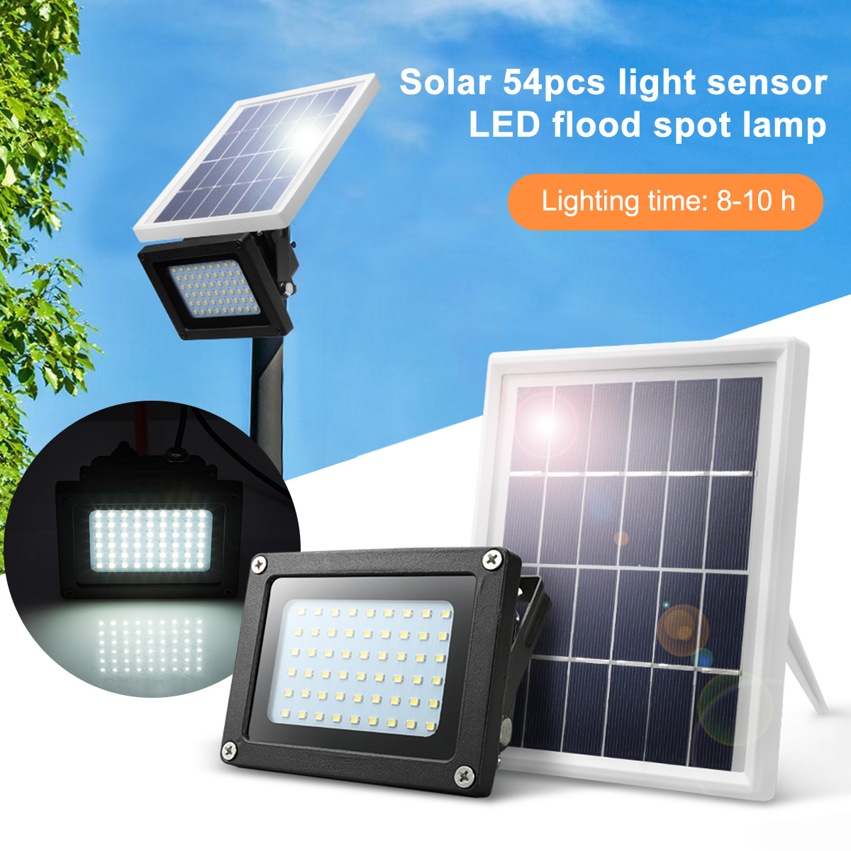 Details About 2pcs 400lm 54 Leds Solar Ed Security Light Outdoor Floodlight Dusk To Dawn
