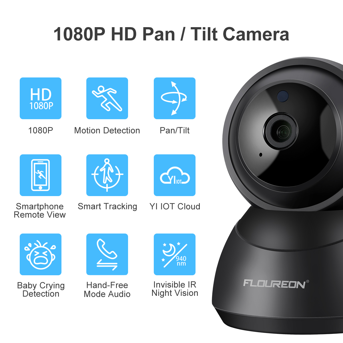 Details about YI Cloud 1080P HD Wireless IP Security Camera Pan/Tilt/Zoom  Night Vision Monitor
