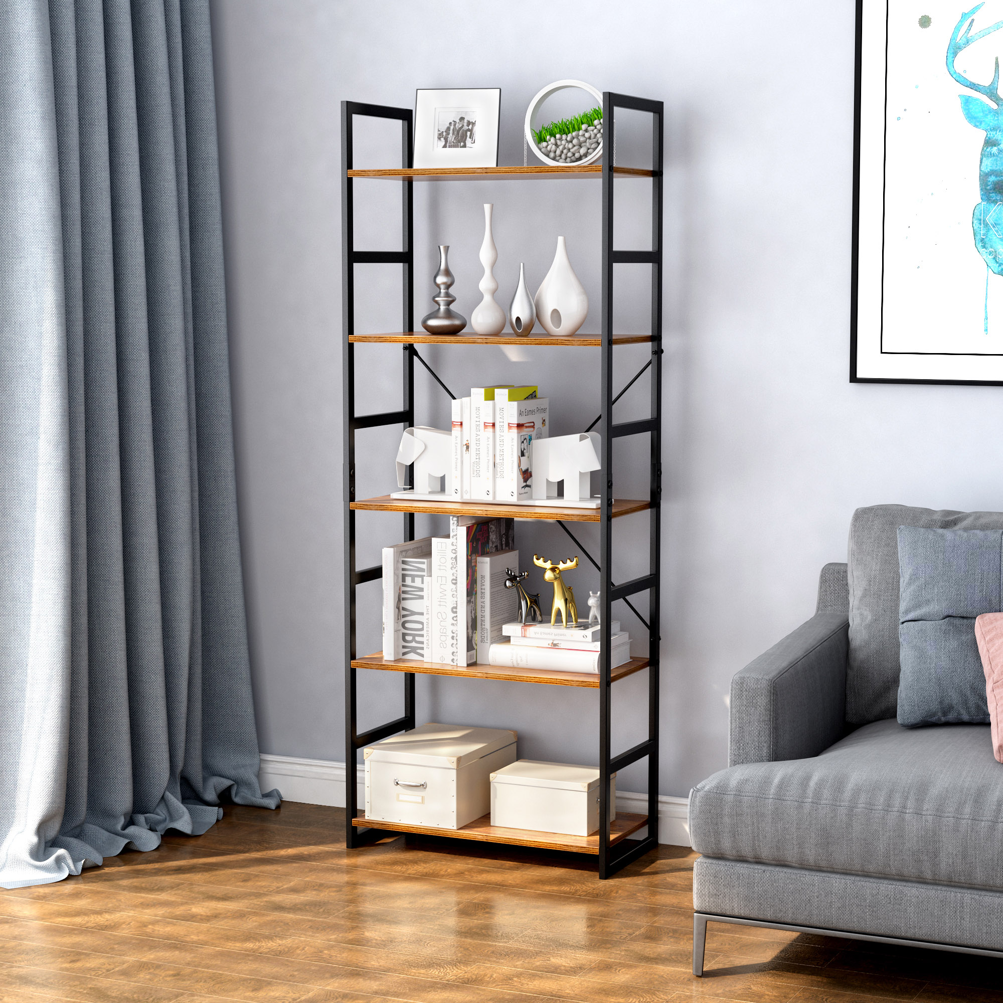 Details About 5 Tier Bookcase Book Shelf Storage Organizer Rack Cabinet Home Office Display Us