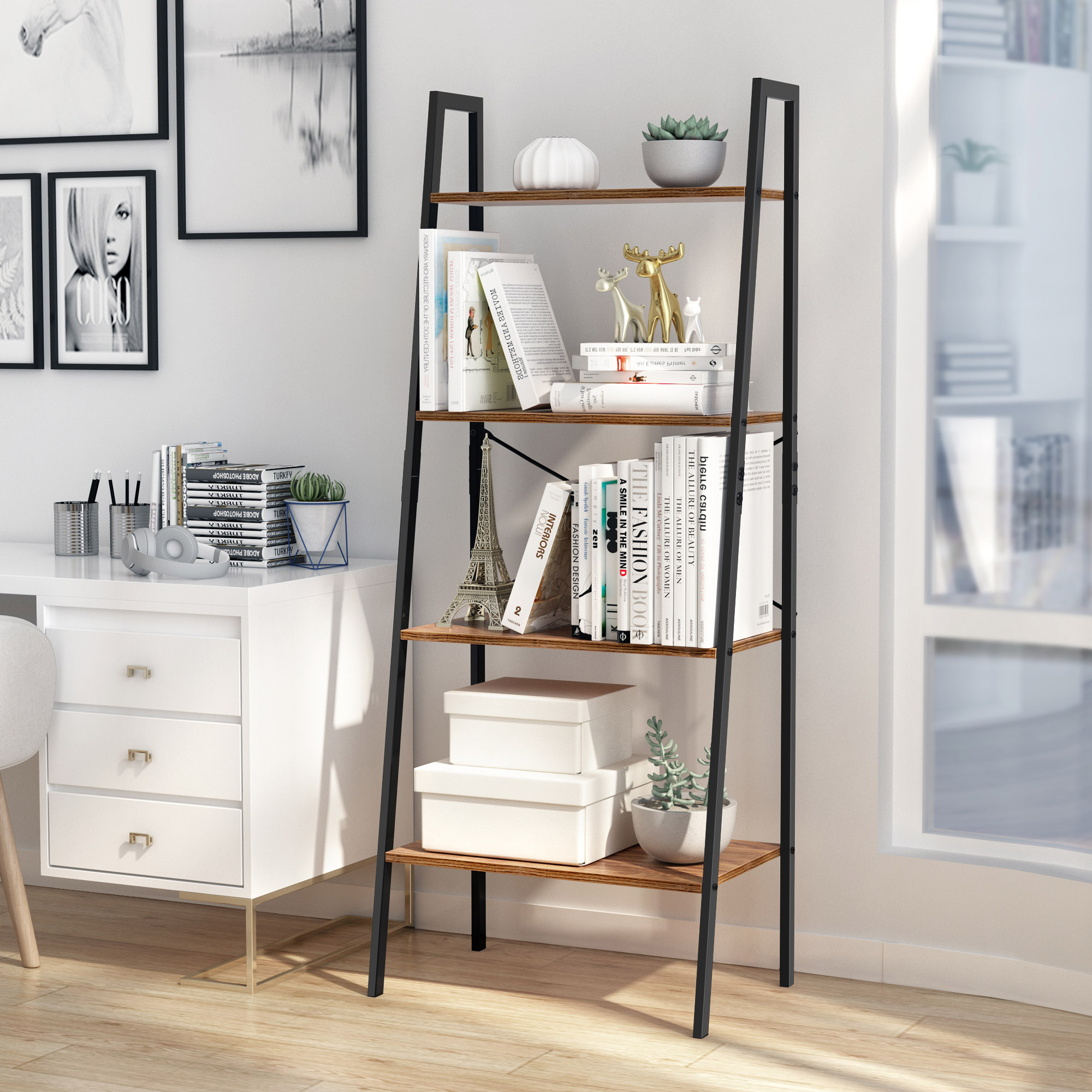 Details About 4 Tier Ladder Shelf Bookshelf Bookcase Storage Display Rack Leaning Home Office