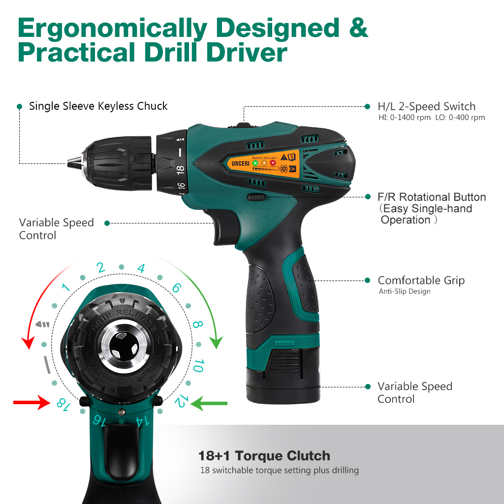 Details about Cordless Electric Drill Kit High Torque 18+1 Keyless Clutch  2-Speed Screwdriver