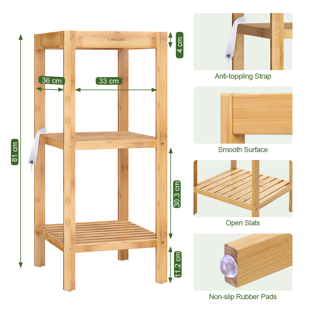 Details About 3 Tier Wood Bamboo Shelf Entryway Storage Corner Kitchen Rack Home Furniture Us