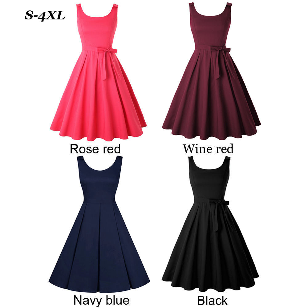 Details about 50s Style PLUS SIZE Casual Summer Sleeveless Full Skirt  Rockabilly PINUP Dress