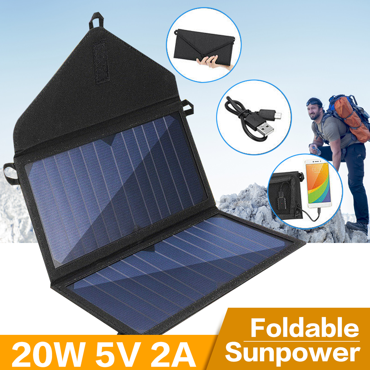 Portable For Phone 20W Camping USB Folding Solar Panel Charger Foldable Battery