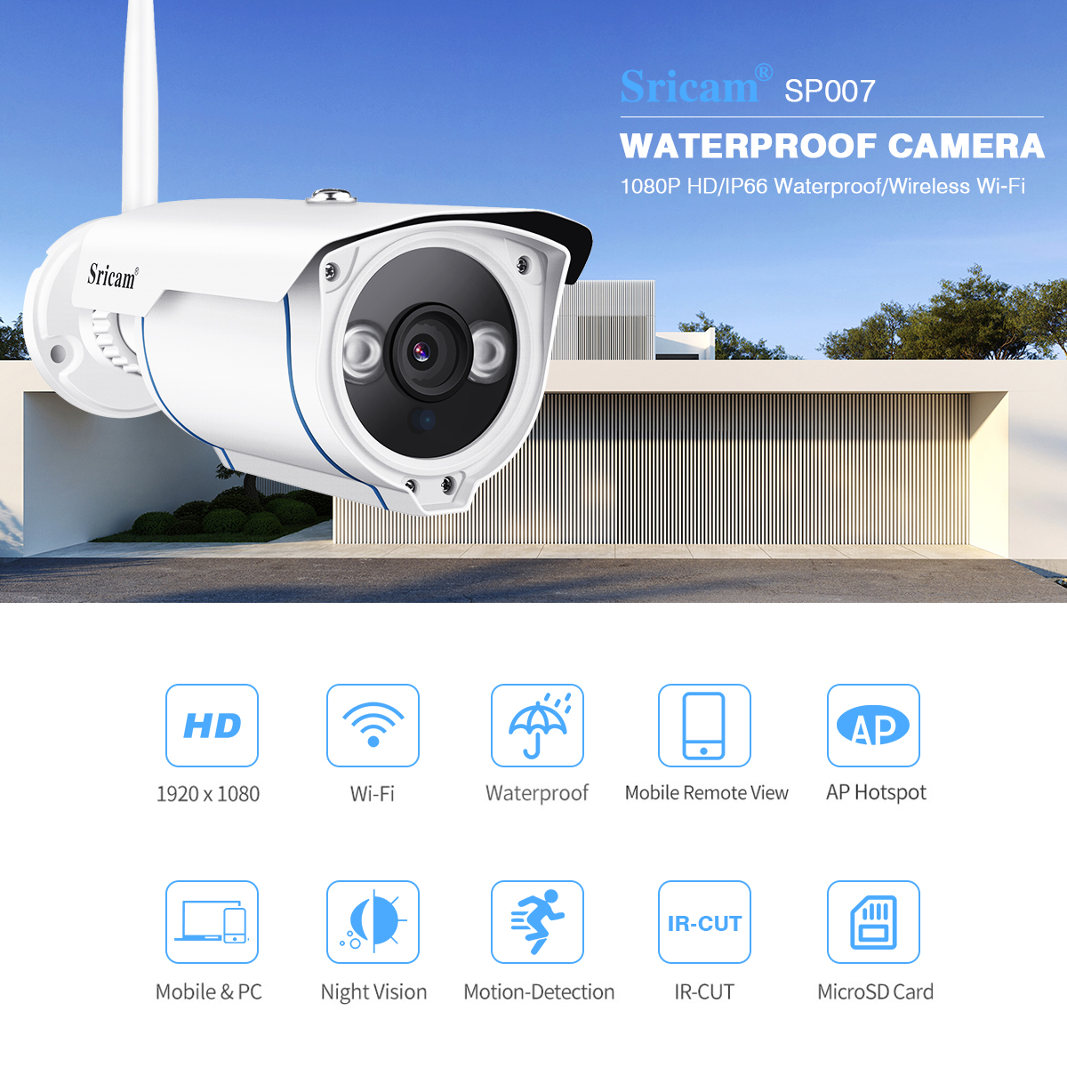 Details about Sricam 1080P HD WiFi Wireless Night Vision CCTV Security IP  Camera TF Slot EU