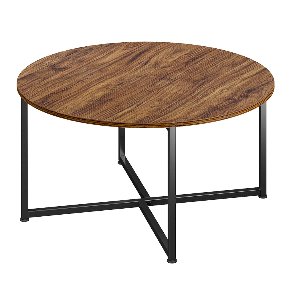 Details About Industrial Style Round Coffee Table With Steel Frame Shade Mango Hardwood