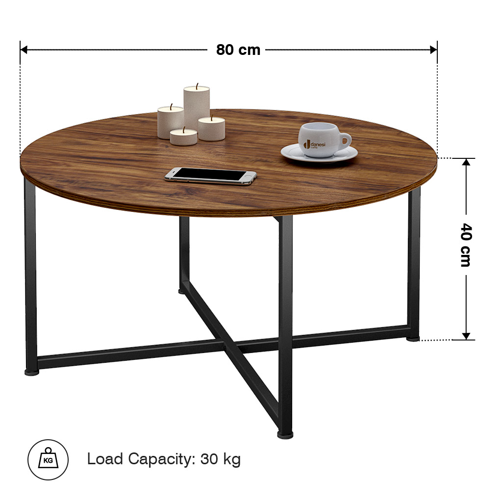 Details About Round Coffee Table Vintage Wooden Side Living Room Furniture Uk