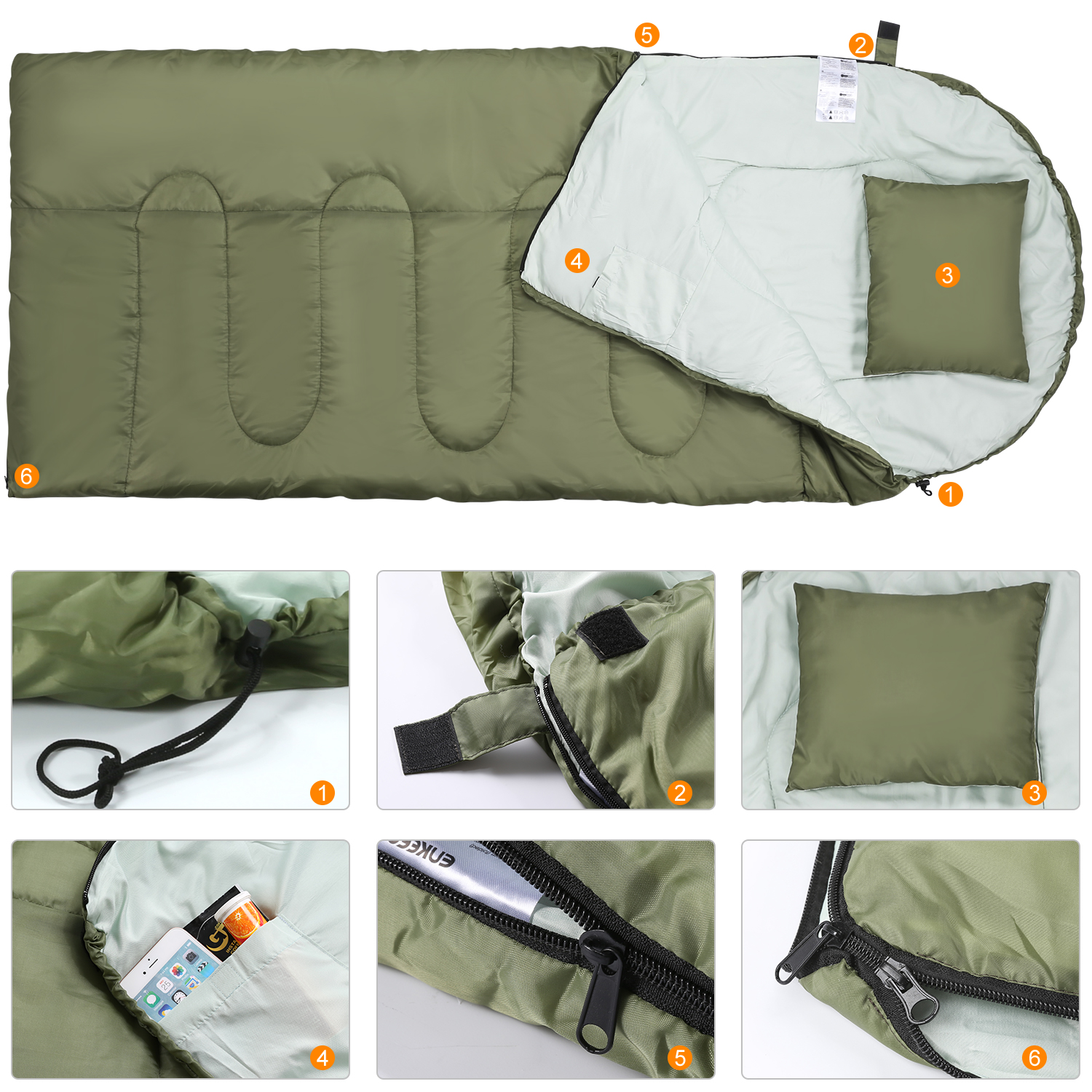 Enkeeo Envelope 4Season Sleeping Bag Waterproof Camping Hiking Outdoor Suit Case