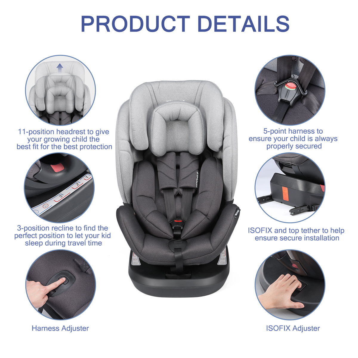 Kids Baby Car Seat Isofix 360 Top Tether Safety Booster Adjustable Group 0 1 2 3 Ebay