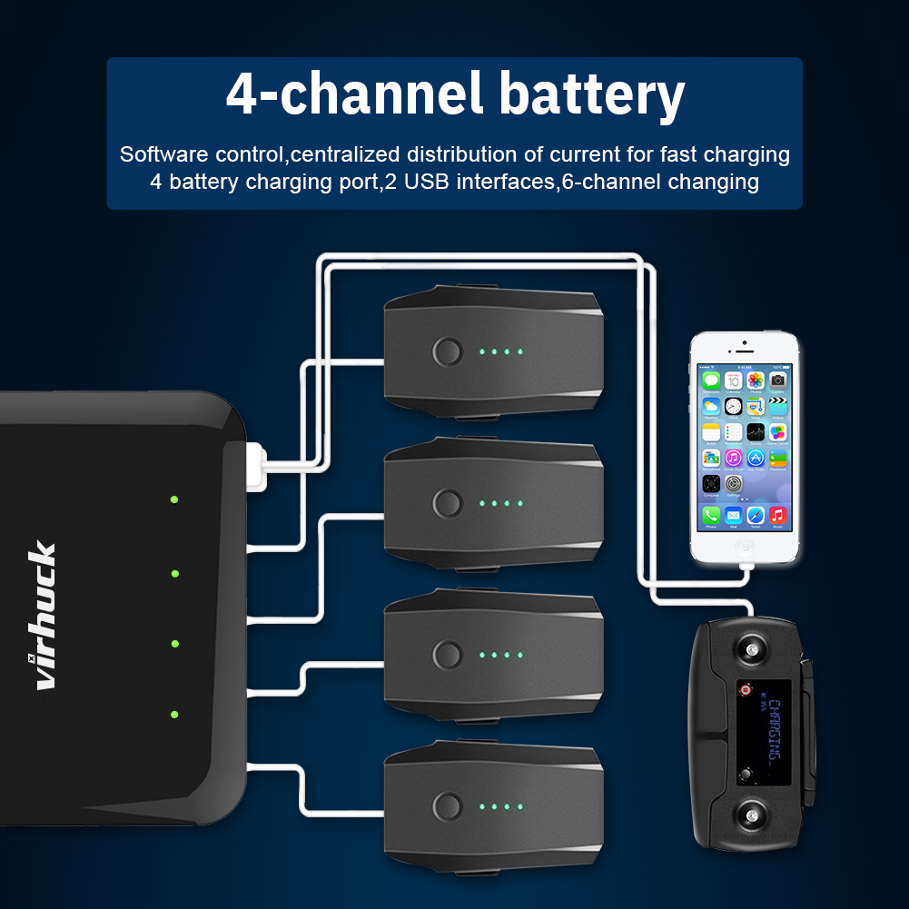 Virhuck Mavic Air/Pro/Pro Platinumas/2 Pro/2 Zoom 6 In 1 Battery Intelligent Rapid Multi Charger (Charge 4 Batteries & 2 USB Ports) US Plug